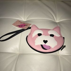 NWT Betsey Johnson Pink Dog Coin Purse